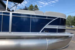 Blue and Silver Exterior of a 2020 Sylvan L1 LZ Pontoon 3