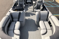 Gray Teak Weave Flooring of a 2020 Sylvan L1 LZ Pontoon