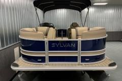 Blue and Tan Exterior of a 2020 Sylvan L1 LZ Pontoon 2