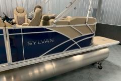 Blue and Tan Exterior of a 2020 Sylvan L1 LZ Pontoon 4