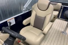 Hi-Back Captain's Helm Chair of a 2020 Sylvan L1 LZ Pontoon