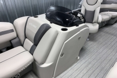 Helm and Captain's Chair of a 2020 Sylvan L1 LZ Tritoon 2