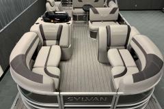 Gray Teak Weave Vinyl Flooring of a 2020 Sylvan L3 CLZ Pontoon