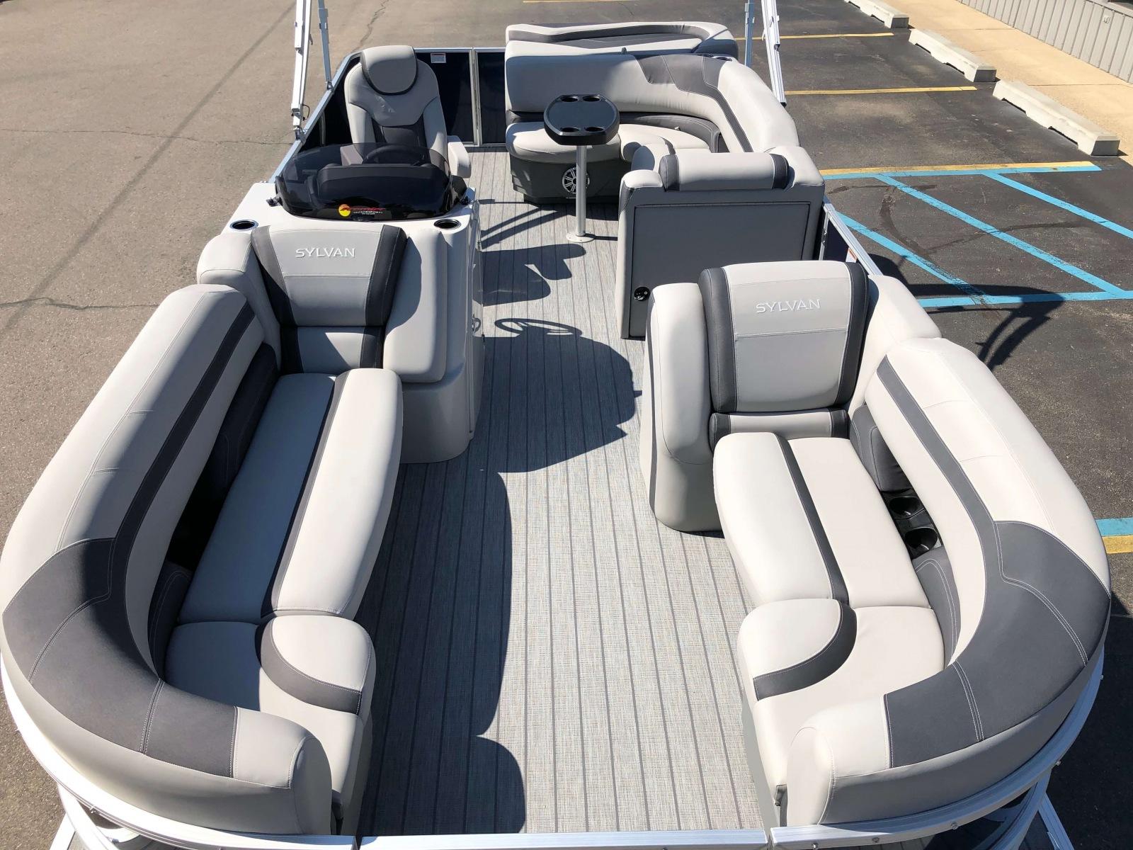 Gray Teak Weave Vinyl Flooring of a 2020 Sylvan L3 Cruise Pontoon