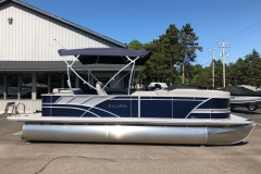 Blue and Silver Exterior of a 2020 Sylvan L3 Cruise Pontoon 5