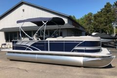 Blue and Silver Exterior of a 2020 Sylvan L3 Cruise Pontoon 1