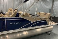 Blue and Tan Exterior of a 2020 Sylvan L3 DLZ Pontoon 4