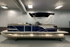 Blue and Silver Exterior of a 2020 Sylvan L3 LZ Pontoon 3