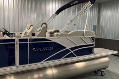 Blue and Silver Exterior of a 2020 Sylvan L3 LZ Pontoon 5