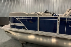 Blue and Silver Exterior of a 2020 Sylvan L3 LZ Pontoon 4