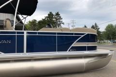 Blue and Tan Exterior of a 2020 Sylvan L3 LZ Pontoon 3