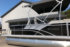 Black and Silver Exterior of a 2020 Sylvan L3 Party Fish Pontoon 4