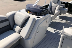 Helm and Captain's Chair of a 2020 Sylvan L3 Party Fish Pontoon 2
