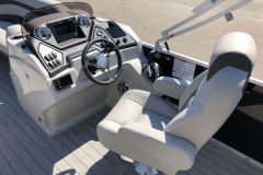 Helm and Captain's Chair of a 2020 Sylvan L3 Party Fish Pontoon 1