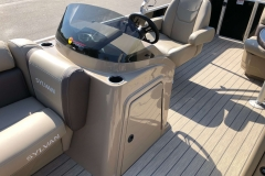 Helm and Captain's Chair of a 2021 Sylvan 8520 Cruise Pontoon