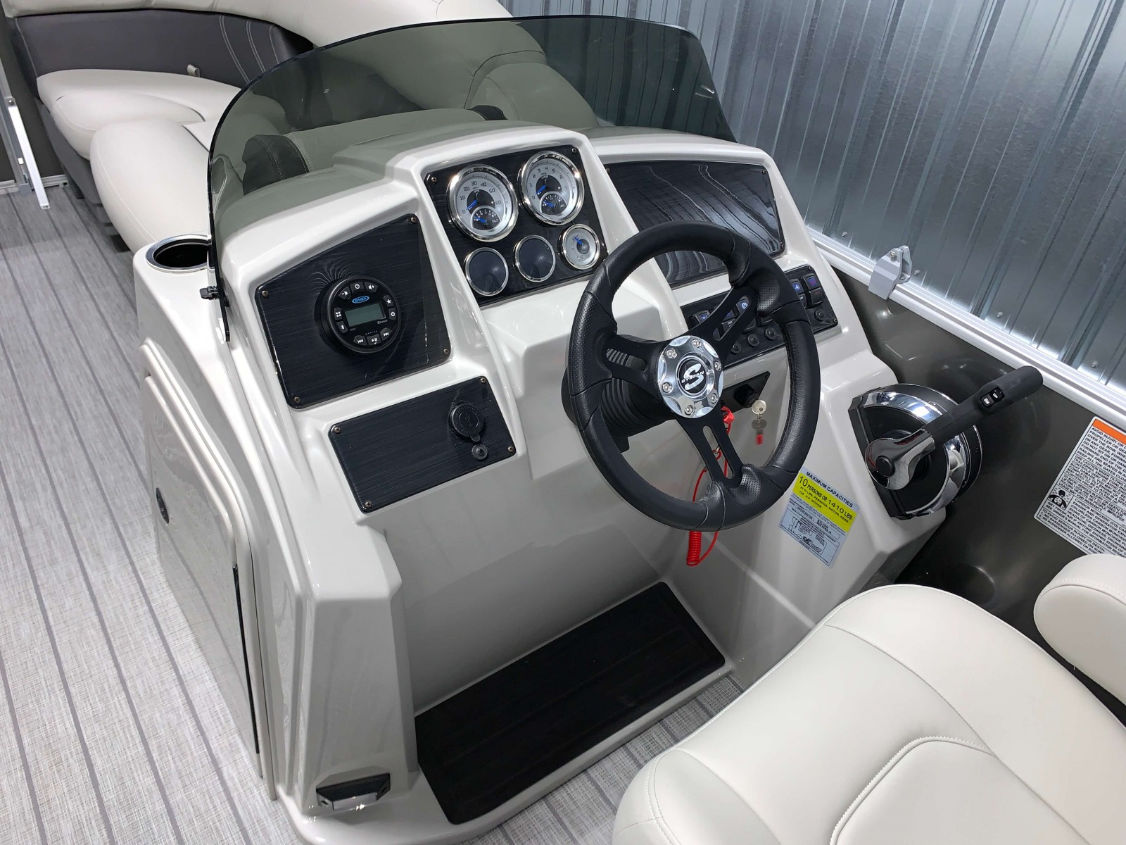 Drivers Console of a 2020 Sylvan Mirage 8520 Cruise Pontoon