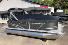 Black Playpen Cover of a 2020 Sylvan Mirage 8520 Cruise-N-Fish Pontoon