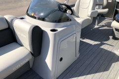 Helm and Captain's Chair of a 2020 Sylvan Mirage 8520 Cruise-N-Fish Pontoon 2