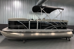 Easy Fold Bimini Top of a 2021 Sylvan Mirage 8520 Cruise Tritoon Boat