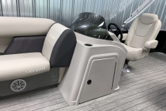 Helm Storage of a 2021 Sylvan Mirage 8520 Cruise Tritoon Boat