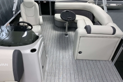 Interior Rear Layout of a 2021 Sylvan Mirage 8520 Cruise Tritoon Boat
