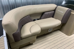Starboard Side Tan Interior Seating of a 2020 Sylvan Mirage 8520 Cruise Tritoon