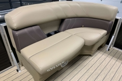 Port Side Tan Interior Seating of a 2020 Sylvan Mirage 8520 Cruise Tritoon