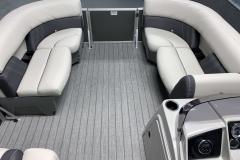 Interior Bow Layout of a 2020 Sylvan Mirage 8520 Cruise Tritoon