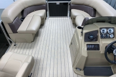 Interior Bow Layout of a 2021 Sylvan Mirage 8520 LZ Tritoon Boat