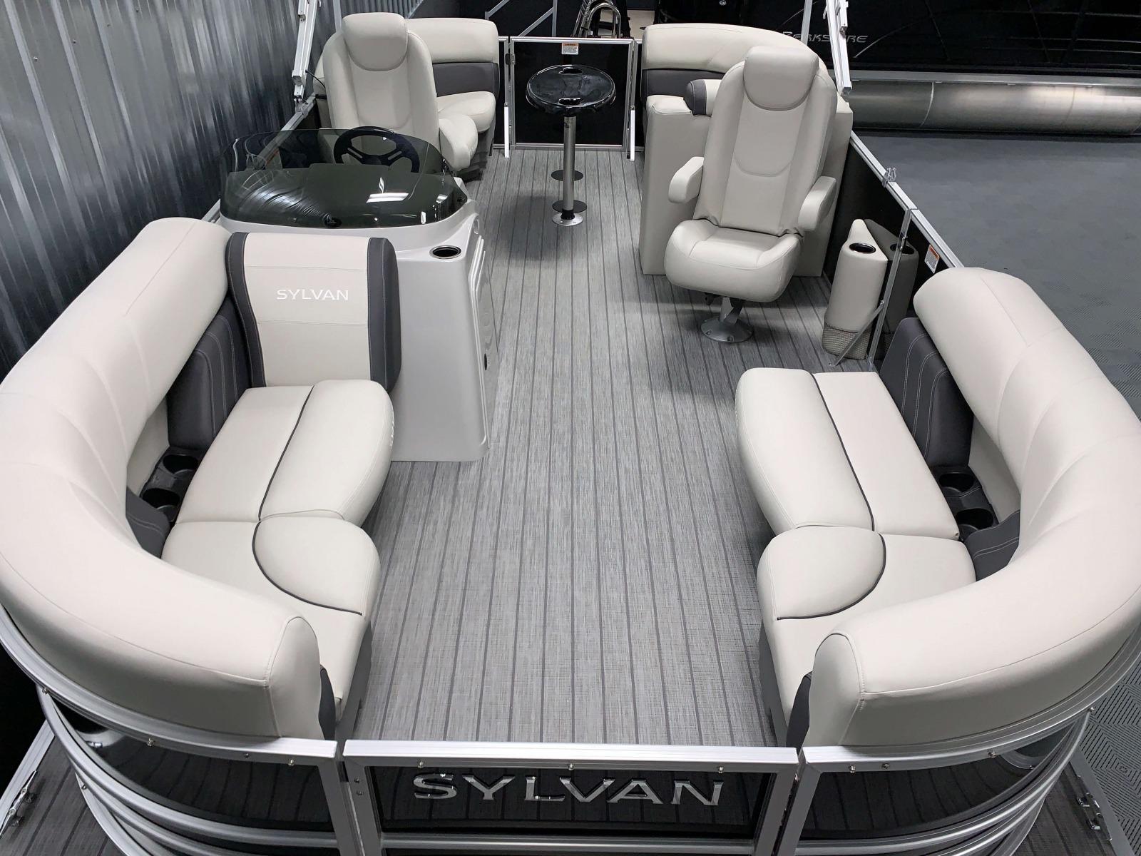 Teak Weave Vinyl Flooring of a 2020 Sylvan Mirage 8520 LZ Tritoon Boat