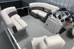 Interior Bow Layout of a 2020 Sylvan Mirage 8520 LZ Tritoon Boat