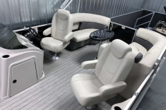 Interior Rear Layout of a 2020 Sylvan Mirage 8520 LZ Tritoon Boat