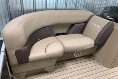 Starboard Side Bow Lounge Seating of a 2021 Sylvan Mirage 8520 LZ Tritoon Boat