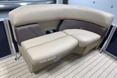 Brown Interior Accents of a 2020 Sylvan Mirage 8520 LZ Tritoon Boat