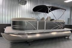 Easy Fold Bimini Top of a 2021 Sylvan Mirage 8520 LZ Tritoon Boat