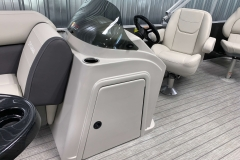 Helm Storage of a 2021 Sylvan Mirage 8520 Party Fish Pontoon Boat