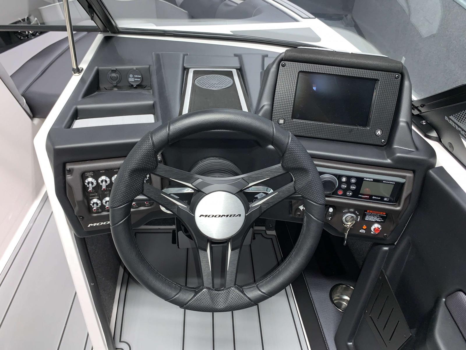 Helm of the 2021 Moomba Craz Wake Boat