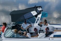 Bimini Top Surf Storage on the 2021 Nautique 210 Wake Boat
