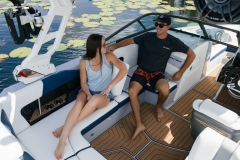 Removable Rear Facing Seats of the 2021 Nautique 210 Wake Boat
