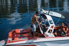 Wakeboard and Wakesurf Storage of the 2021 Nautique G23 Wake Boat
