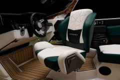 Actuated Helm Seat on the 2021 Nautique G23 Paragon Wake Boat