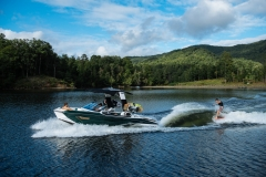 Wake Surfing Behind the 2021 Nautique G23 Paragon Wake Boat