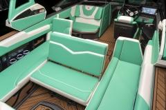 New Glo Green Interior on the 2021 Nautique G23 Wake Boat
