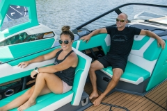 Pop-Up Rear Facing Seat of the 2021 Nautique G23 Wake Boat