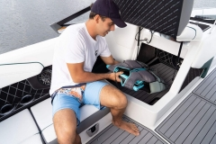 Observer Seat Storage of a 2021 Nautique GS20 Wake Boat