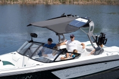 Bimini Top with Surf Board Pockets on a 2021 Nautique GS20 Wake Boat