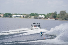 Slalom Skiing Behind a 2021 Nautique GS20 Wake Boat