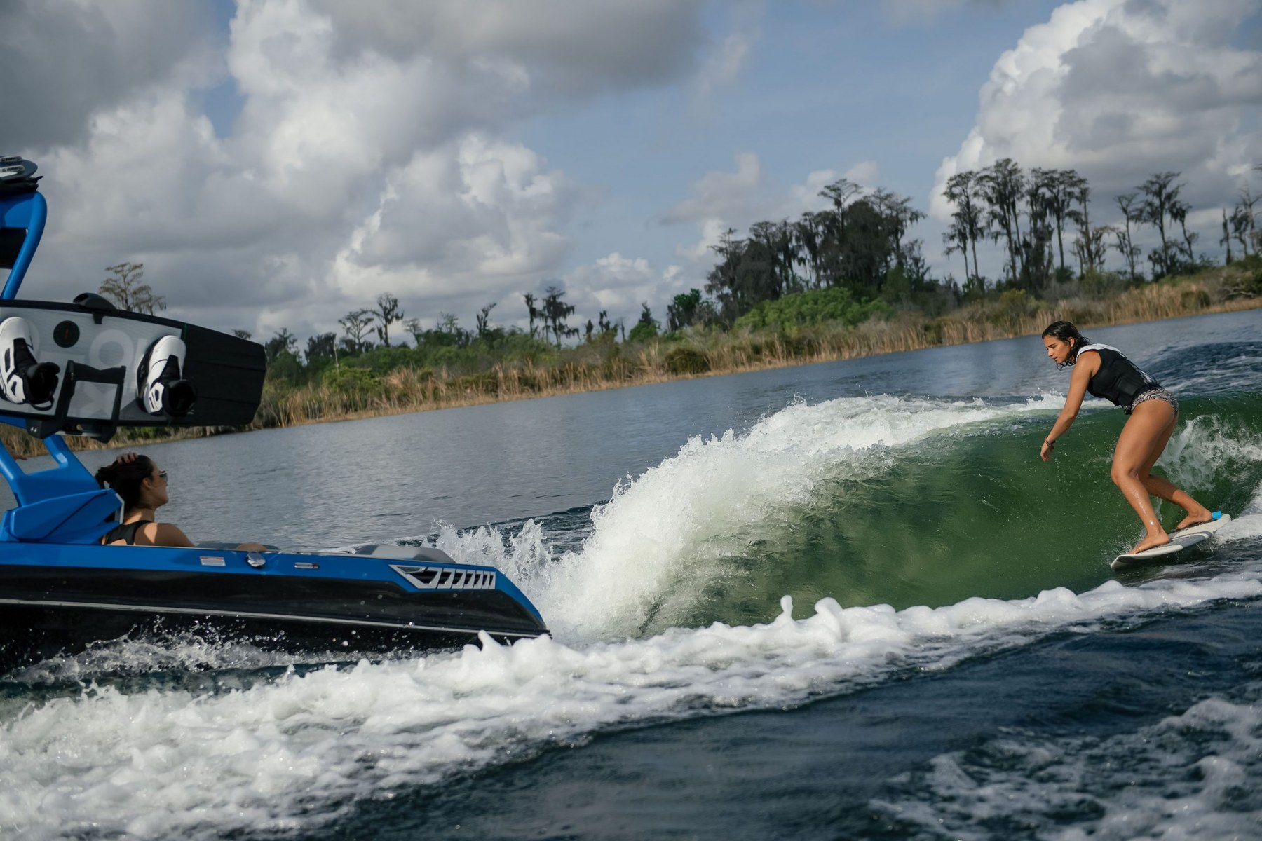 Surf Wave Behind a 2021 Nautique GS22 Wake Boat