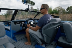 Luxurious Helm of the 2021 Nautique GS22 Wake Boat