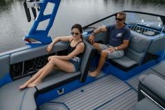 Rear Facing Seating Configurationon the 2021 Nautique GS22 Wake Boat